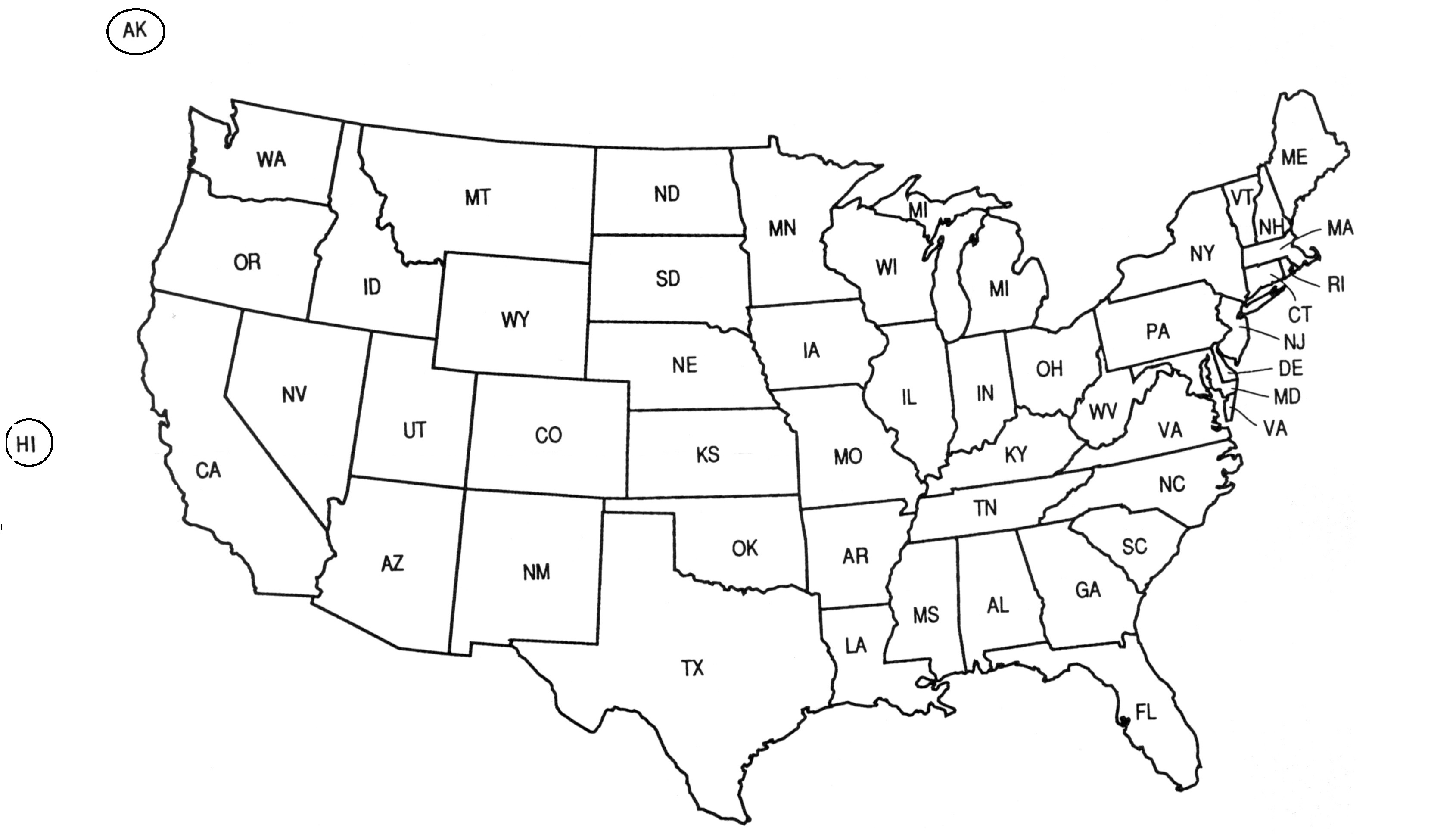 US States Names And Two Letter Abbreviations Map USA State - Us map black and white vector